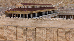 Second Temple. Basilica. Second Temple. Model of the ancient Jerusalem. Israel Museum stock photo