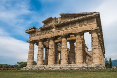 Second temple of Hera at Paestum archaeological site. One of the most well-preserved ancient Greek temples in the world, Province of Salerno, Campania, Italy royalty free stock photography
