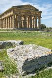 Second temple of Hera in Poseidonia Paestum, Campania, Italy. Temple of Hera II also erroneously called the Temple of Neptune or of Poseidon, ancient Greek stock photos