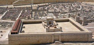Second Temple Model of the ancient Jerusalem - Israel. JERUSALEM - MAR 19 2015:Second Temple Model of the ancient in Jerusalem, Israel.Jewish eschatology stock photo
