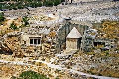 Rock-cut tomb complex in Jerusalem, Israel. During the Second Temple period, rock-cut tombs were built outside the walls of the city of Jerusalem in every Stock Photo
