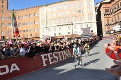 The second and the third winners. Maxim Iglinsky (Kazakhstan) and Oscar Gatto (Italy) won the second and third place of strade bianche international professional Stock Image