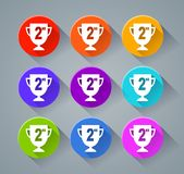Second trophy icons with various colors. Illustration of second trophy icons with various colors Royalty Free Stock Image