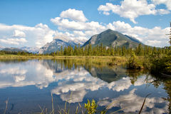 Second Vermillion Lake, Banff, Alberta, Canada. View on beautiful Vermillion Lakes near Banff, Alberta, Canada, with the Canadian Rocky Mountains in the Royalty Free Stock Photography