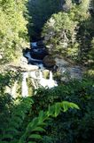 SECOND VIEW OF WATERFALL IN CASHIERS NORTH CAROLINA. Second photo taken further down from the waterfall looking up Royalty Free Stock Images