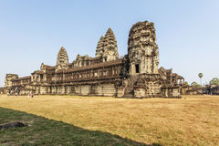 Second wall of Angkor Wat, Siem Riep, Cambodia. The lake in front of the Angkor Wat where tourist commonly stand here to take picture of the setting sun at the Royalty Free Stock Images