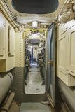 Second war world submarine corridor interior. Military vessel. Vertical Royalty Free Stock Photos