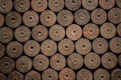 Second World War background. Detail of old used rusty german shells Stock Photography