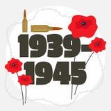 Second world war commemorative background, flat style vector illustration