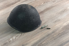 Second World War ,Helmet military, bullets, Cross of War Royalty Free Stock Images