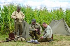 Second World War US Army soldiers recreation royalty free stock photography