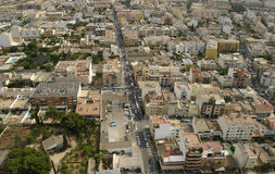 Secondary avenues aerial view. Mid size buildings and straight avenues on aerial view over the city of Majorca Royalty Free Stock Photography