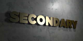 Secondary - Gold sign mounted on glossy marble wall  - 3D rendered royalty free stock illustration Stock Photos