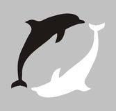 Secondary processing. Figure with the image of two silhouettes of dolphins. Association with a badge of secondary processing Stock Image
