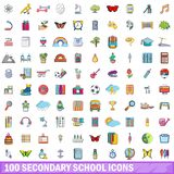 100 secondary school icons set, cartoon style. 100 secondary school icons set. Cartoon illustration of 100 secondary school vector icons isolated on white royalty free illustration