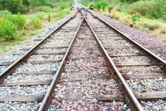 Secondary to primary railway tracks Royalty Free Stock Photography