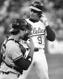 Seconde base Mike Gallego #9 d'Oakland Athletics Image libre de droits
