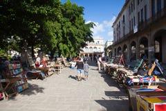 Secondhand book stalls at the flea market on Plaza de Armas. Havana, Cuba - January, 22,2017: Secondhand book stalls at the flea market on Plaza de Armas Stock Images