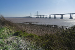 In secondo luogo Severn Crossing, ponte sopra Bristol Channel fra l'Inghilterra Immagine Stock