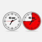 45 seconds clock on gray background. Fourty five Seconds Clock on gray background. Two options.45 seconds timer. Stopwatch icon. Clock icon.  Vector illustration Royalty Free Stock Photo