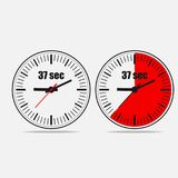 37 seconds clock on gray background. Thirty seven Seconds Clock on gray background. Two options.   37 seconds timer. Clock icon. Stopwatch icon. Vector Royalty Free Stock Photography