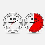 36 seconds clock on gray background. Thirty six Seconds Clock on gray background. Two options. 36 seconds timer. Stopwatch icon. Vector illustration EPS 10 vector illustration