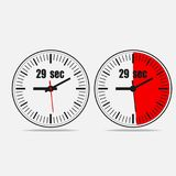 29 seconds clock on gray background. Twenty nine Seconds Clock on gray background. Two options. Vector illustration EPS 10 Royalty Free Stock Photography