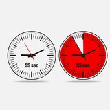 55 seconds clock icon on gray background. Fifty Five Seconds Clock on gray background. Two options.55 seconds timer. Stopwatch icon. Clock icon.  Vector Stock Photos
