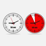 56 seconds clock icon on gray background. Fifty Six Seconds Clock on gray background. Two options. 56 seconds timer. Stopwatch icon. Clock icon.  Vector Stock Images