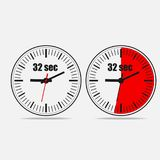 32 seconds clock. Thirty two Seconds Clock on gray background. Two options Stock Images