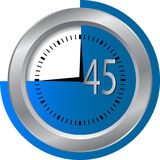 45 seconds Clock. Timer illustration Stock Photography