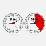 24 seconds clock. Timer 24 seconds. Twenty four Seconds Clock isolated on gray background. Two options.Vector illustration EPS 10 Royalty Free Stock Image
