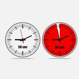 58 seconds clock vector icon. Fifty Eight Seconds Clock on gray background. Two options. 58 seconds timer. Stopwatch icon. Clock icon. Vector illustration EPS 10 royalty free illustration
