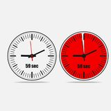 59 seconds clock vector icon. Fifty Nine Seconds Clock on gray background. Two options. 59 seconds timer. Stopwatch icon. Clock icon. Vector illustration EPS 10 vector illustration