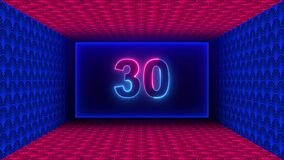 60 Seconds Countdown Rectangle Neon Light Style Inside Red And Blue Shiny Lights Artistic Texture Rectangle Geometric Space Tunnel