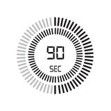 The 90 seconds icon, digital timer. clock and watch, timer, countdown symbol isolated on white background, stopwatch vector icon stock illustration
