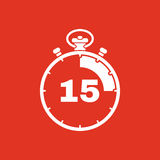The 15 seconds, minutes stopwatch icon. Clock and watch, timer, countdown, stopwatch symbol. UI. Web. Logo. Sign. Flat. The 15 seconds, minutes stopwatch icon Stock Illustration