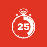 The 25 seconds, minutes stopwatch icon. Clock and watch, timer, countdown, stopwatch symbol. UI. Web. Logo. Sign. Flat. The 25 seconds, minutes stopwatch icon Royalty Free Stock Photos
