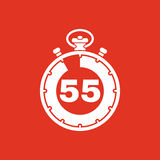 The 55 seconds, minutes stopwatch icon. Clock and watch, timer, countdown, stopwatch symbol. UI. Web. Logo. Sign. Flat. The 55 seconds, minutes stopwatch icon Stock Photography