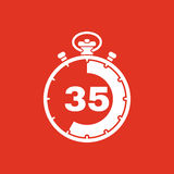 The 35 seconds, minutes stopwatch icon. Clock and watch, timer, countdown, stopwatch symbol. UI. Web. Logo. Sign. Flat. The 35 seconds, minutes stopwatch icon Royalty Free Stock Photography