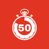 The 50 seconds, minutes stopwatch icon. Clock and watch, timer, countdown, stopwatch symbol. UI. Web. Logo. Sign. Flat Stock Image