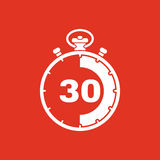 The 30 seconds, minutes stopwatch icon. Clock and watch, timer, countdown, stopwatch symbol. UI. Web. Logo. Sign. Flat Royalty Free Stock Images