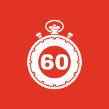 The 60 seconds, minutes stopwatch icon. Clock and watch, timer, countdown, stopwatch symbol. UI. Web. Logo. Sign. Flat Stock Photos