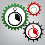 The 20 seconds, minutes stopwatch sign. Vector. Three connected. Gears with icons at grayish background vector illustration