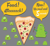 5 seconds rule. Funny illustration of the 5 seconds rule with a slice of pizza on the floor and germs surrounding it stock illustration