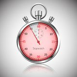 55 seconds. Silver realistic stopwatch with reflection. Vector.  Royalty Free Stock Photography