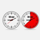 38 seconds timer on gray background. Thirty Eight Seconds Clock on gray background. Two options. 38 seconds timer. Stopwatch icon. Vector illustration  EPS 10 Stock Image