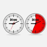 34 seconds timer on gray background. Thirty four Seconds Clock on gray background. Two options. 34 seconds timer. Stopwatch icon. Vector illustration EPS 10 vector illustration