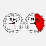 26 seconds timer on gray background. Twenty six Seconds Clock on gray background. Two options. 26 seconds timer. Stopwatch icon. Vector illustration EPS 10 vector illustration