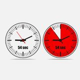 54 seconds timer icon. Fifty four Seconds Clock on gray background. Two options. 54 seconds timer. Stopwatch icon. Clock icon.  Vector illustration EPS 10 Royalty Free Stock Image